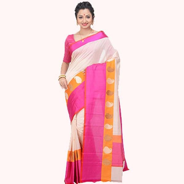 Cream & Pink Ghicha Saree