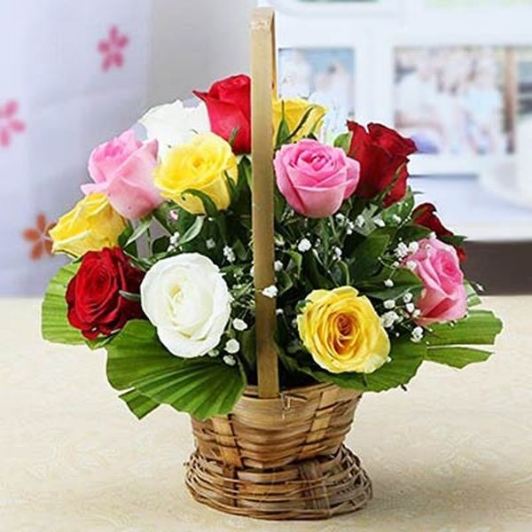 12 Mixed Roses Wicker Basket