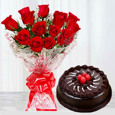 12 Red Roses with 1 Kg Chocolate Cake
