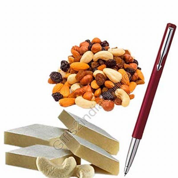 Kaju Barfi, Mixed Dry Fruits, A Parker Vector Ball Pen