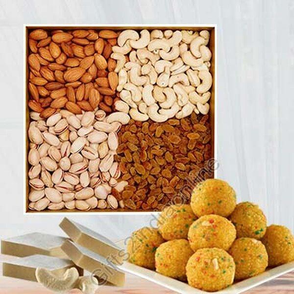 Motichur ladoo made of deshi ghee, Mixed Dry Fruits, Kaju Barfi Sweets
