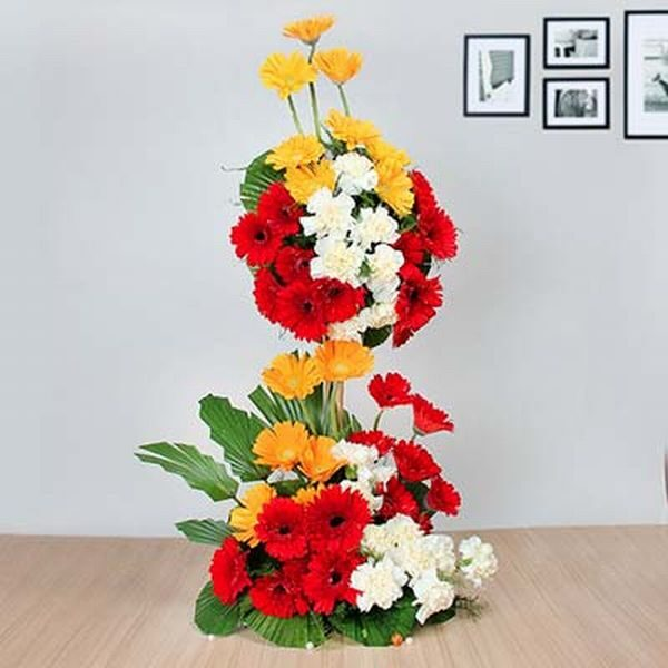 Red n Yellow Gerbera and White Carnation