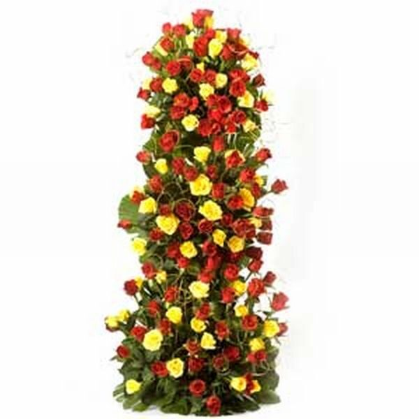 an Arrangement of Red and Yellow Roses
