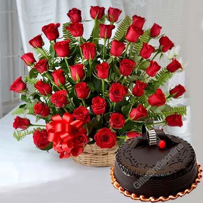60 Red Rose Basket with Cake