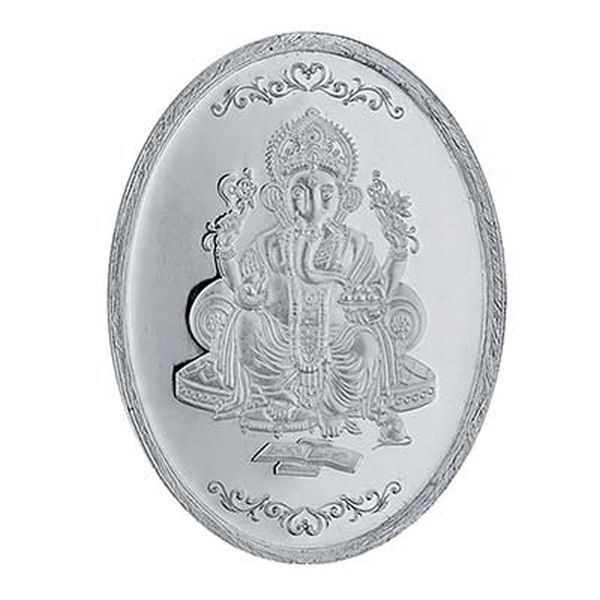 10 Gm Ganesh Oval Silver Coin