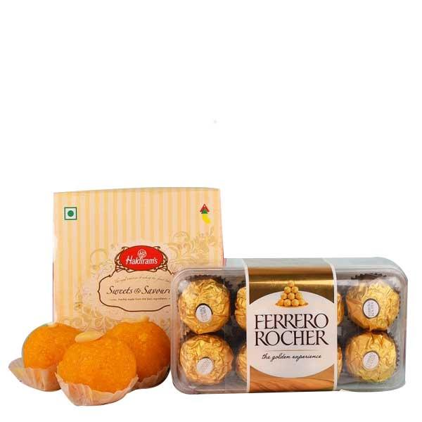 Motichoor Laddoo and Ferrero Rocher