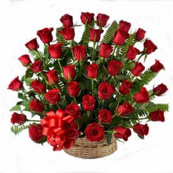 round basket arrangement of 50 long dutch Roses