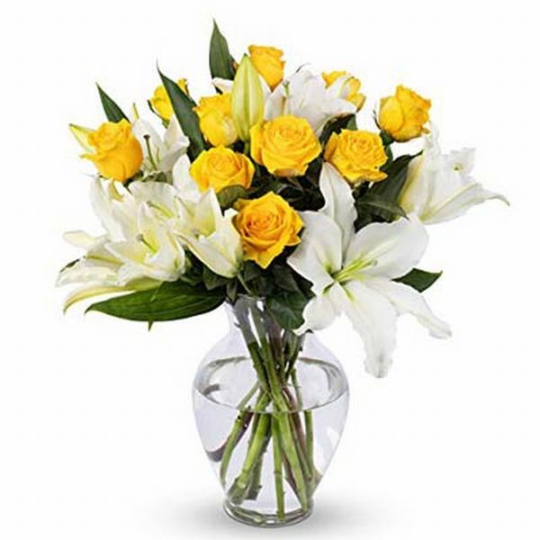 10 yellow Roses & 3 Stems of White Lilies