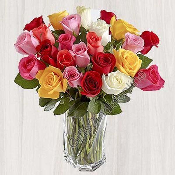 24 bright and vivacious mixed roses