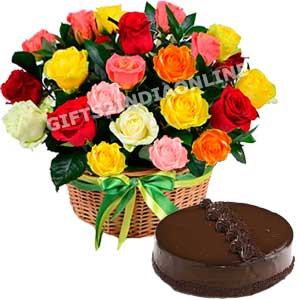 25 Mixed Roses Basket with Cake