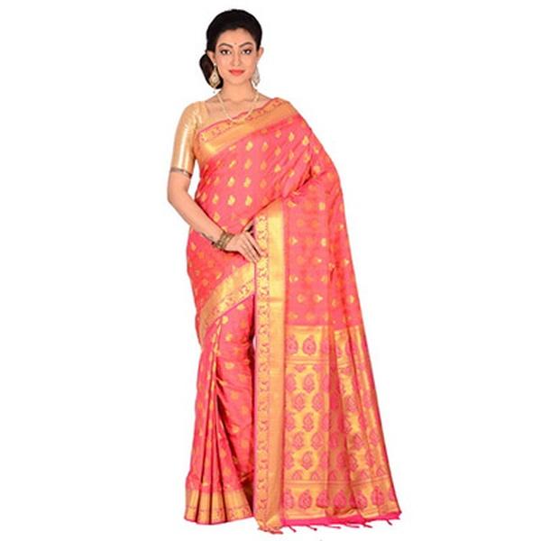 Pink Kanjeevar Silk Saree
